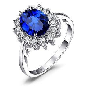 Halo Solitare 925 Sterling Silver Ring 4-12